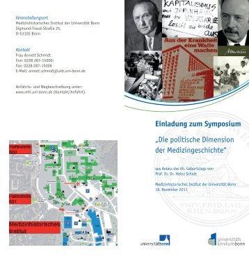 Einladung zum Symposium - Medizinhistorisches Institut der ...