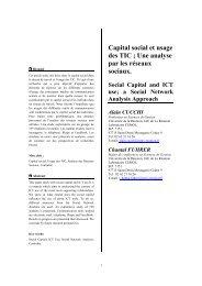 Capital social et usage des TIC ; Une analyse par les réseaux ... - Free
