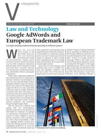 Law and technology Google adwords and european ... - Free