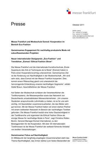Messe Frankfurt und Modeschule Esmod - Ethical Fashion Show ...