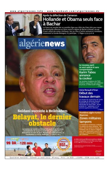 Fr-31-08-2013 - Algérie news quotidien national d'information