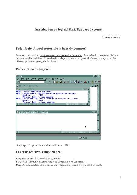 Introduction Au Logiciel Sas Support De Cours Pierrefrancois
