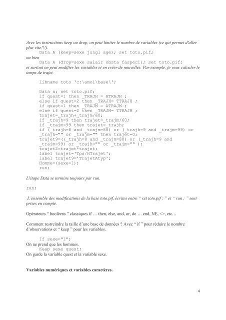 Introduction au logiciel SAS. Support de cours ... - pierrefrancois