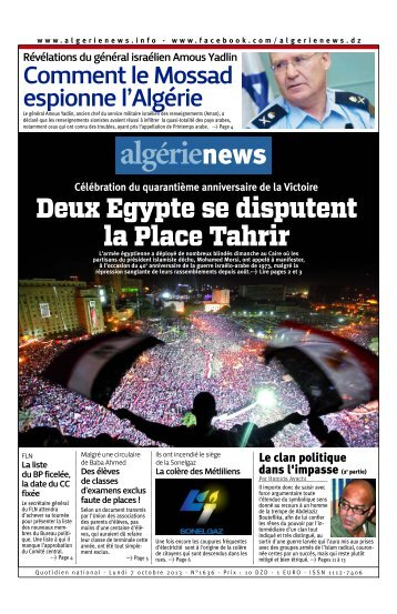Fr-07-10-2013 - Algérie news quotidien national d'information