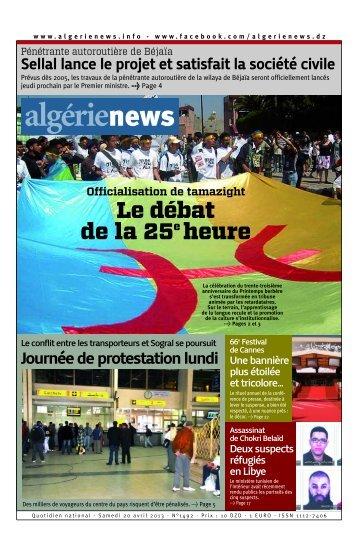 Fr-20-04-2013 - Algérie news quotidien national d'information