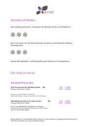 WEIHNACHTSMENÜ I EUR 39,00 pro Person ... - Europe Hotels