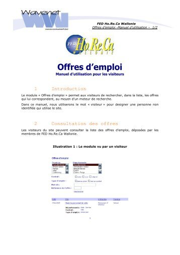 Offres d'emploi - Fédération Horeca Wallonie