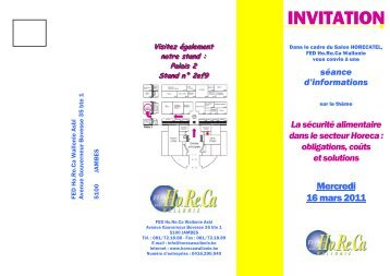 RV dépliant 16.03.11 - Fédération Horeca Wallonie