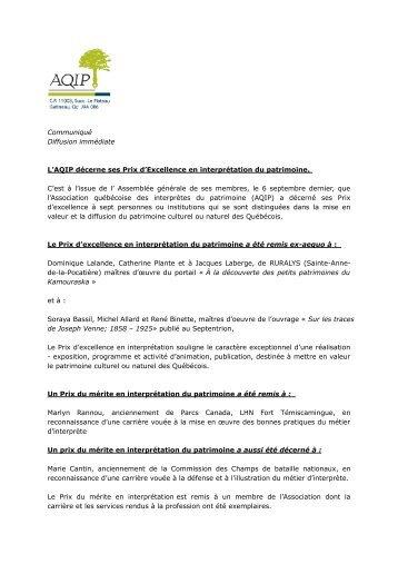 L'AQIP décerne ses Prix d'Excellence en interprétation du patrimoine.