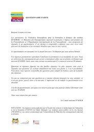 Bonjour à toutes et à tous, Les partenaires de l'initiative ... - IFADEM