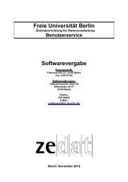 Freie Universität Berlin Softwarevergabe - Zedat - Freie Universität ...