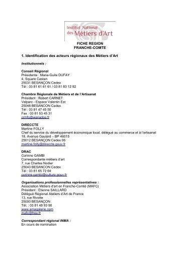 FICHE REGION FRANCHE-COMTE 1. Identification des acteurs ...