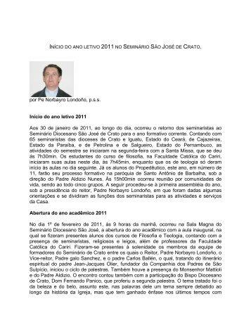 por Pe Norbayro Londoño, p.s.s. Início do ano letivo 2011 Aos 30 de ...