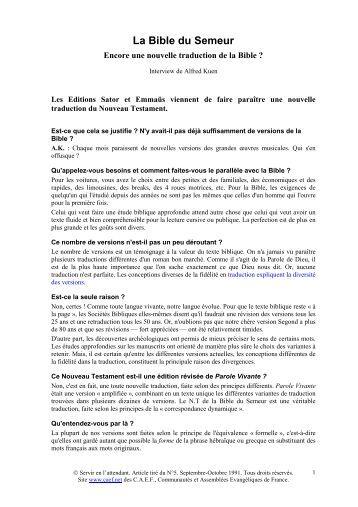 La Bible du Semeur - Servir - CAEF - Communautés et Assemblées ...