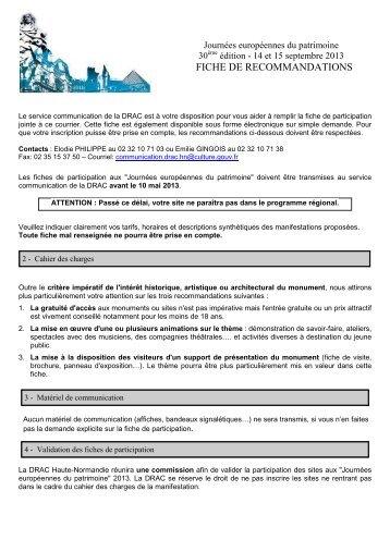 recommandations JEP 2013.pdf - Ministère de la Culture et de la ...