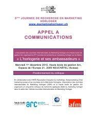 CALL JRMH 15 03 10 - Journée Internationale du Marketing Horloger