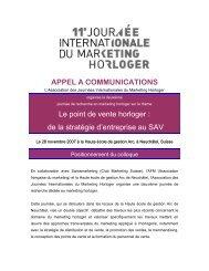 APPEL A COMMUNICATIONS Le point de vente horloger - Journée ...