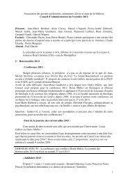 Conseil d'Administration du 8 octobre 2012 - Les Maitrisiens