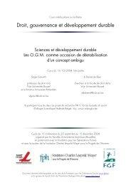 cours 2004, 1ère partie : Sciences et développement durable - FGF