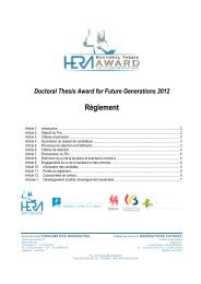 Doctoral Thesis Award for Future Generations 2012 Règlement - FGF