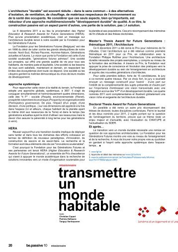 Be.Passive - Mémoires en Architecture durable : Master's ... - FGF