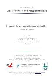 cours 2004, La responsabilité, au cœur du développement ... - FGF