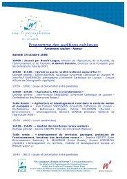 Programme des auditions publiques - FGF