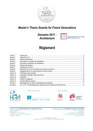 Master's Thesis Awards for Future Generations - Domaine 2011 - FGF
