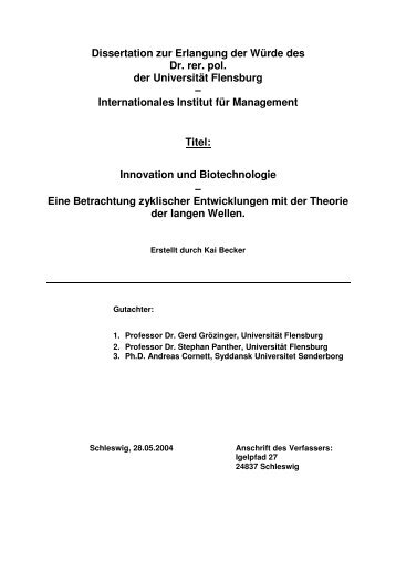 Dissertation zur Erlangung der Würde des Dr. rer. pol. der ...