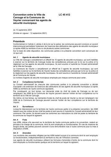 Convention concernant les agents de sécurité municipaux - Veyrier