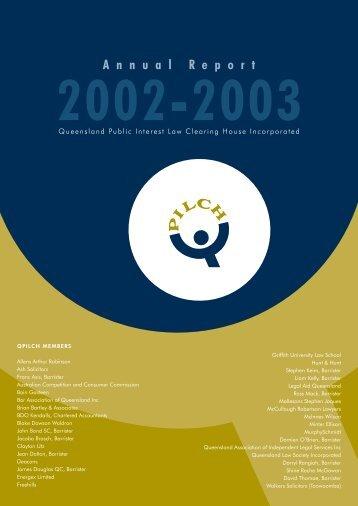 Annual Report 2002 - 2003 (PDF 576KB) - qpilch