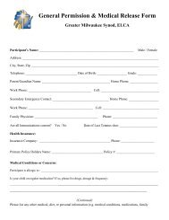 General Permission & Medical Release Form - Greater Milwaukee ...