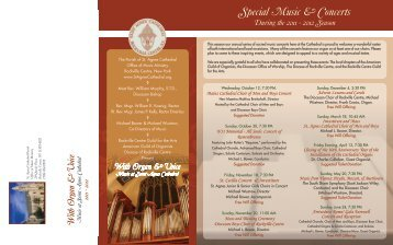 Special Music & Concerts - the Parish of St. Agnes Cathedral