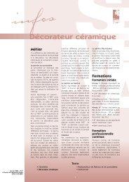 Décorateur céramique - Institut National des Métiers d'Art
