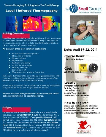 Level I Infrared Thermography Date: April 19-22, 2011 Course Hours