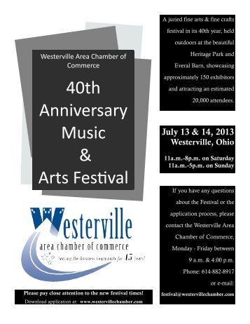 40th Anniversary Music & Arts Festival - Westerville Area Chamber ...