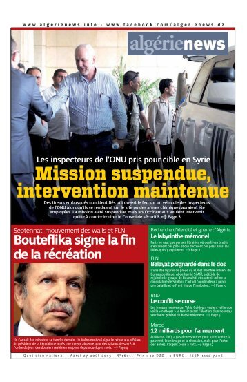 Fr-27-08-2013 - Algérie news quotidien national d'information