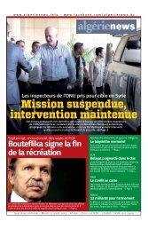 Fr-27-08-2013 - Algérie news quotidien national d'information