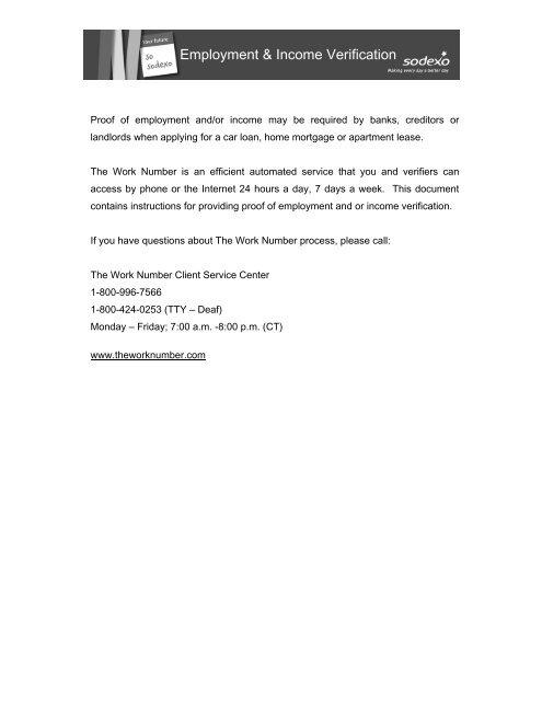 Employment & Income Verification - I am Sodexo