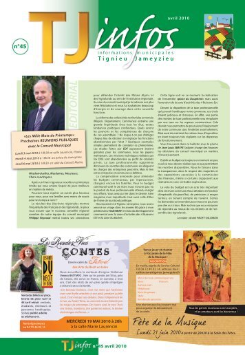 TJinfos n°45 du mois d'avril 2010 - site mairie Tignieu-Jameyzieu