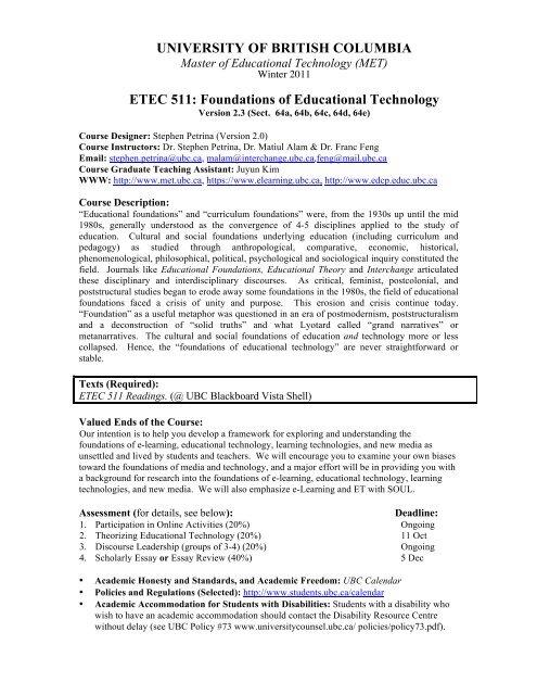 etec 511 scholarly essay