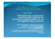 Courteix Julian : Métropolisation, organisation institutionnelle ... - afitl