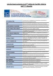 Liste des Experts présents à la 21ème édition de Top DRH– Hôtel ...