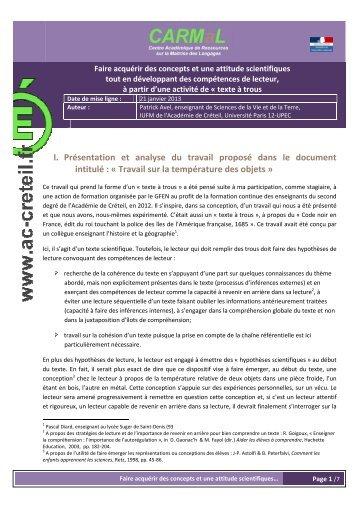 Le dispositif pédagogique - Centre académique de ressources sur ...