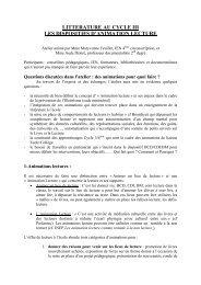 litterature au cycle iii - Centre académique de ressources sur la ...