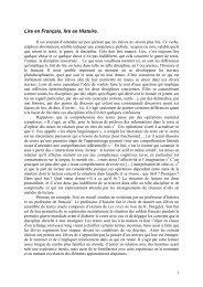 Lire en Français, lire en Histoire. - Centre académique de ...