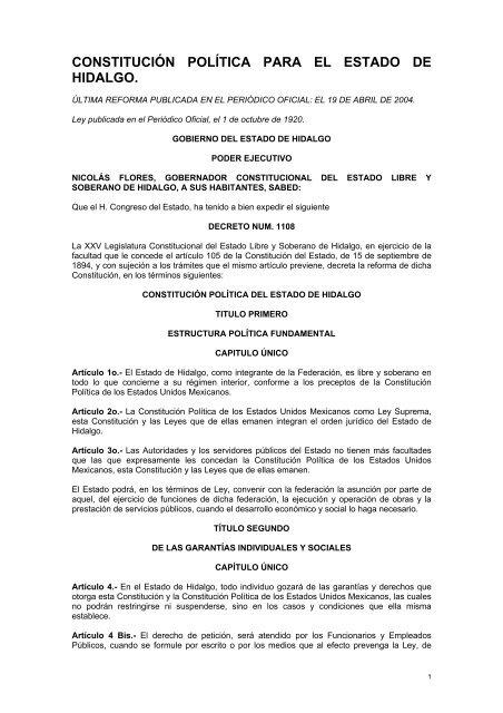 Constitucion Politica Para El Estado De Hidalgo