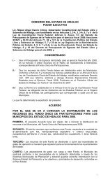 gobierno del estado de hidalgo poder ejecutivo considerando ...