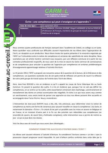 un texte commun - Centre académique de ressources sur la maîtrise ...