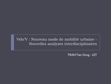 Vélo'V : Nouveau mode de mobilité urbaine - afitl